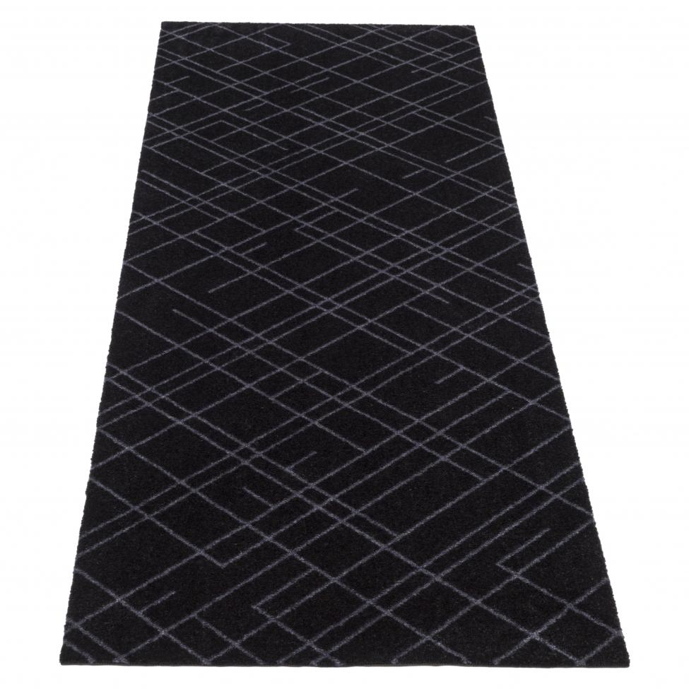 Hallmatta 'Lines' - Svart 200x67 cm