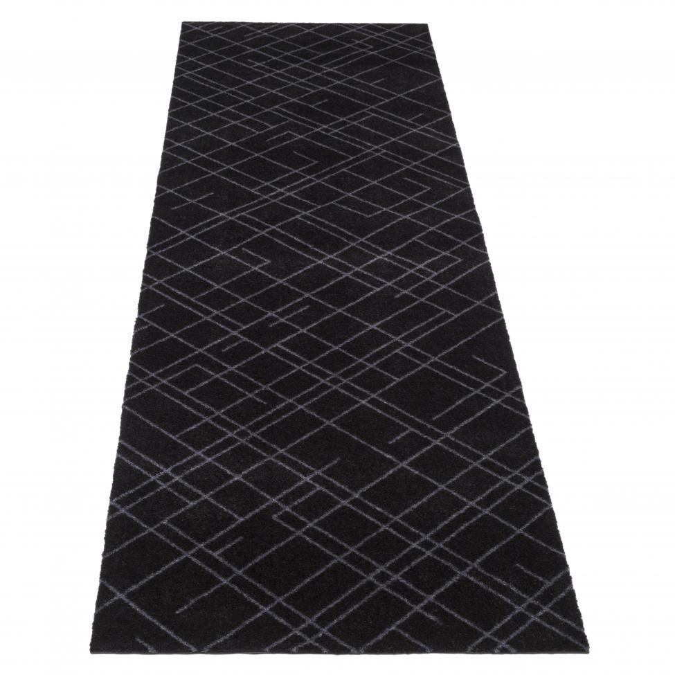 Hallmatta 'Lines' - Svart 250x67 cm