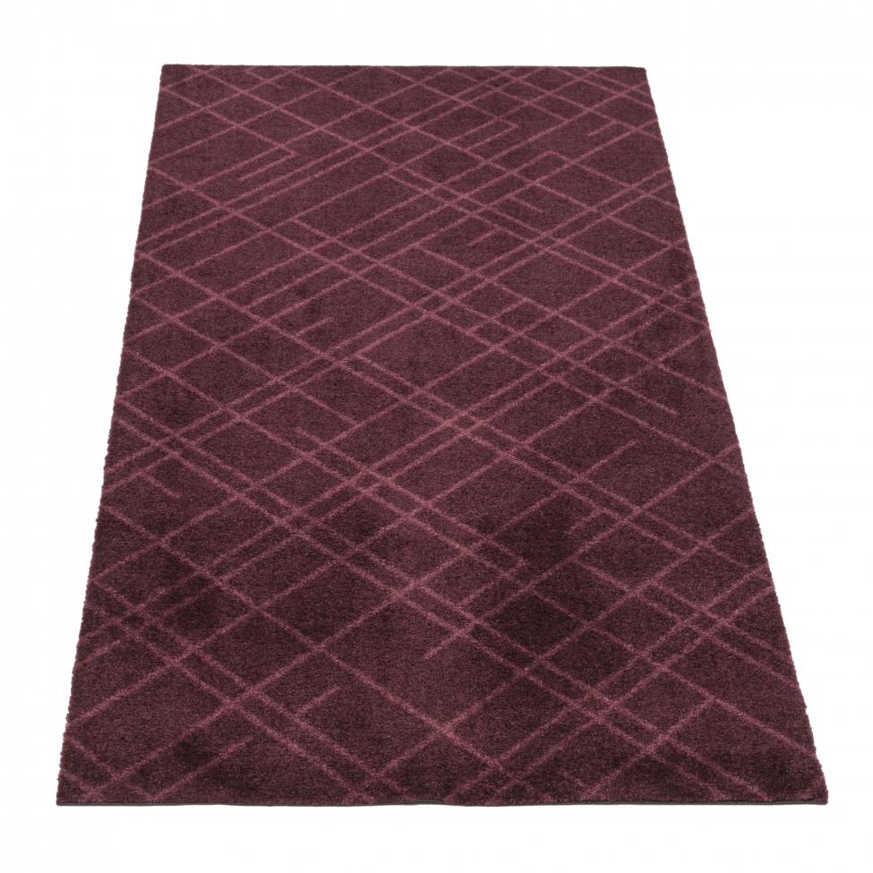 Hallmatta 'Lines' - Mörkröd 150x67 cm