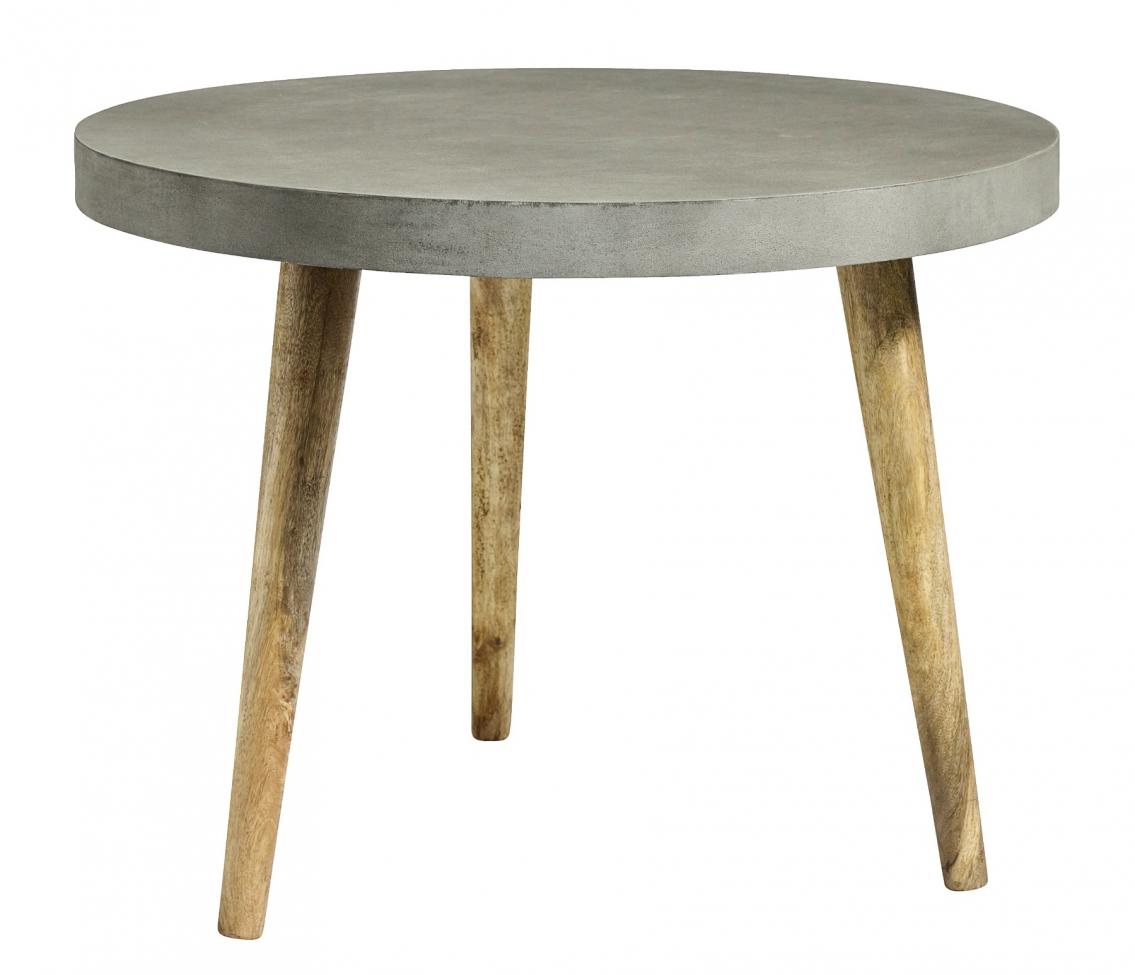Runt matbord - Grå betong/Trä