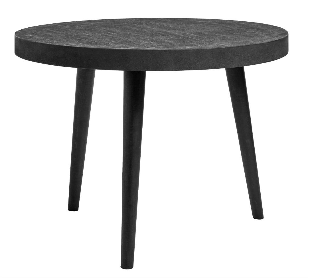 Runt matbord - Svart betong/trä