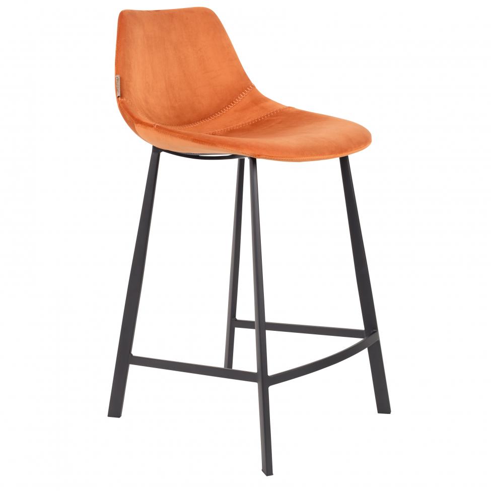 Barstol 'Franky' - Orange/Sammet