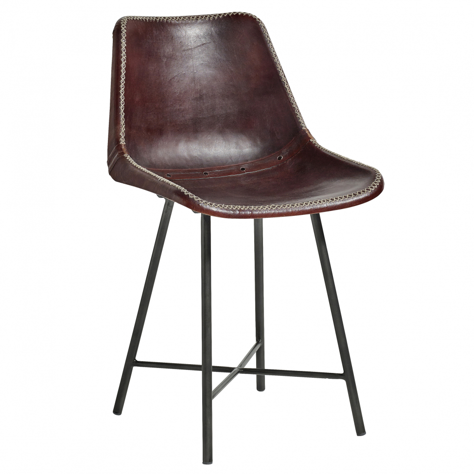 Stol 'Leather' - Mörkbrun