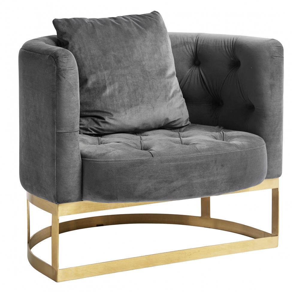 Fåtölj 'Lounge' - Grå/Mässing