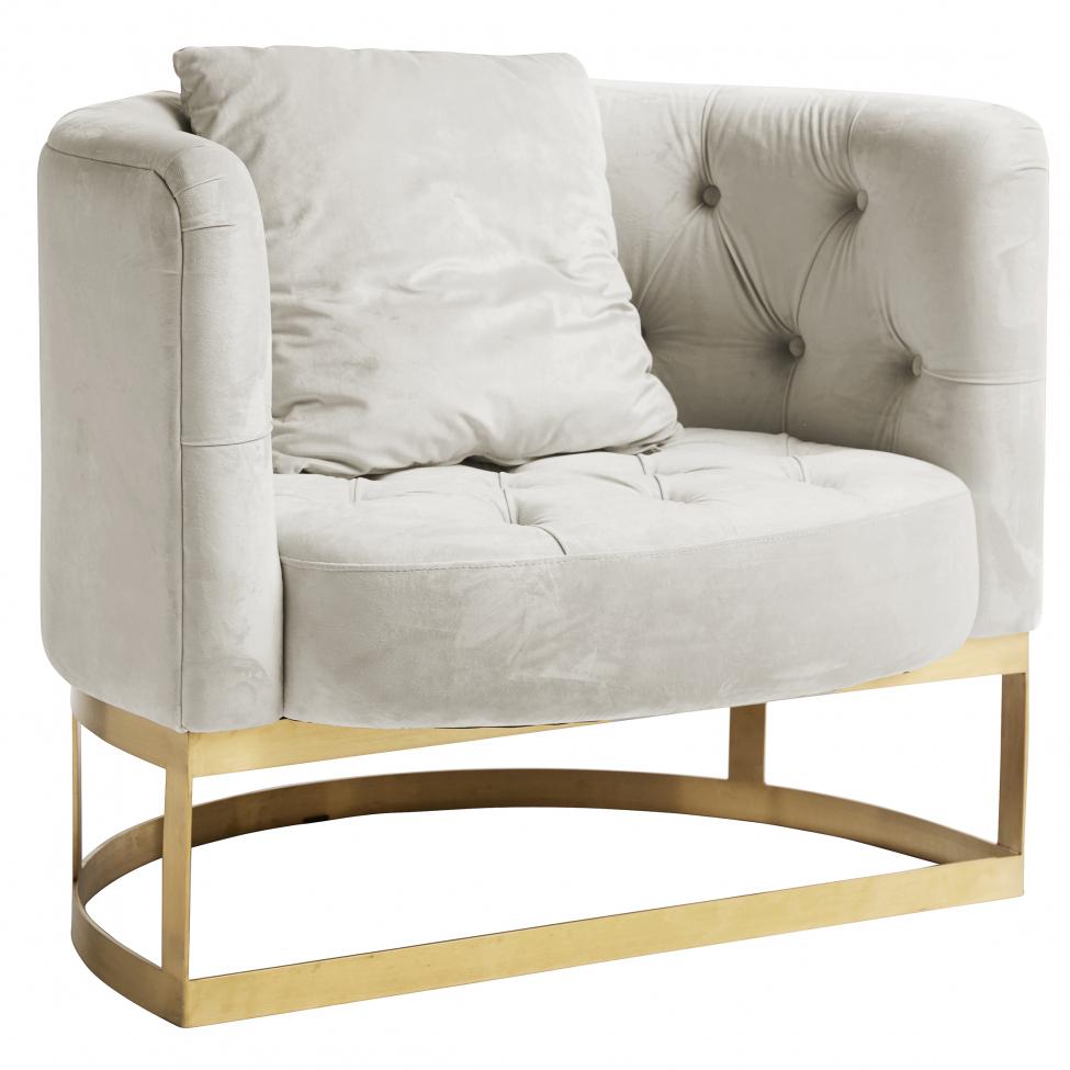 Fåtölj 'Lounge' - Vit/Mässing
