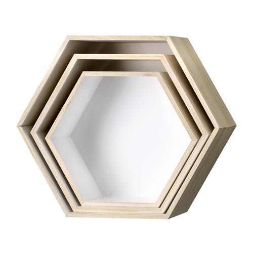 Vägglådor Hexagon - Trä/vit