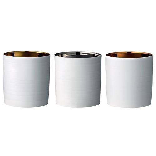 Ljuslykta x 3 - Vit och metall