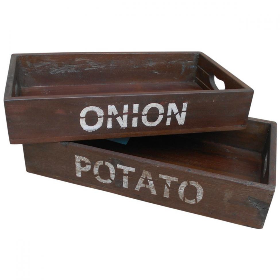 Trälådor 'Potatos and Onion' - Vintage