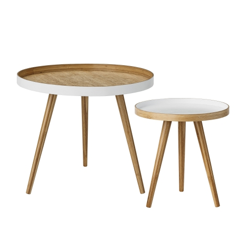 Soffbord - Vitt & Trä (2 st)
