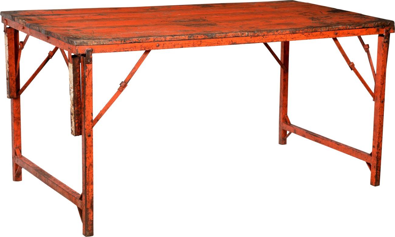 Rustikt fällbart bord - Röd/Trä