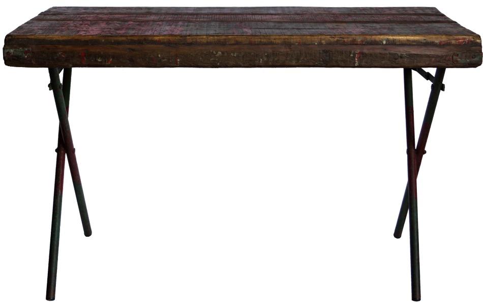 Kryssbensbord - Rusikt trä/Röd