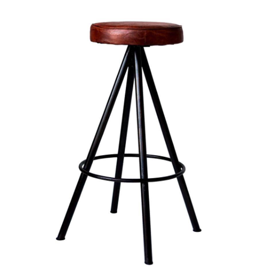 Barstol 'Round' - Läder/Järn