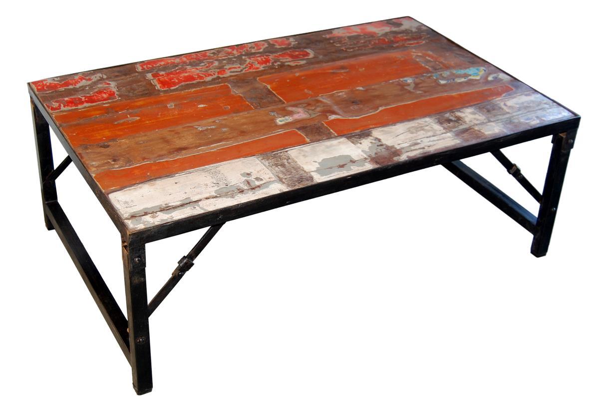 Soffbord - vintage trä och järn
