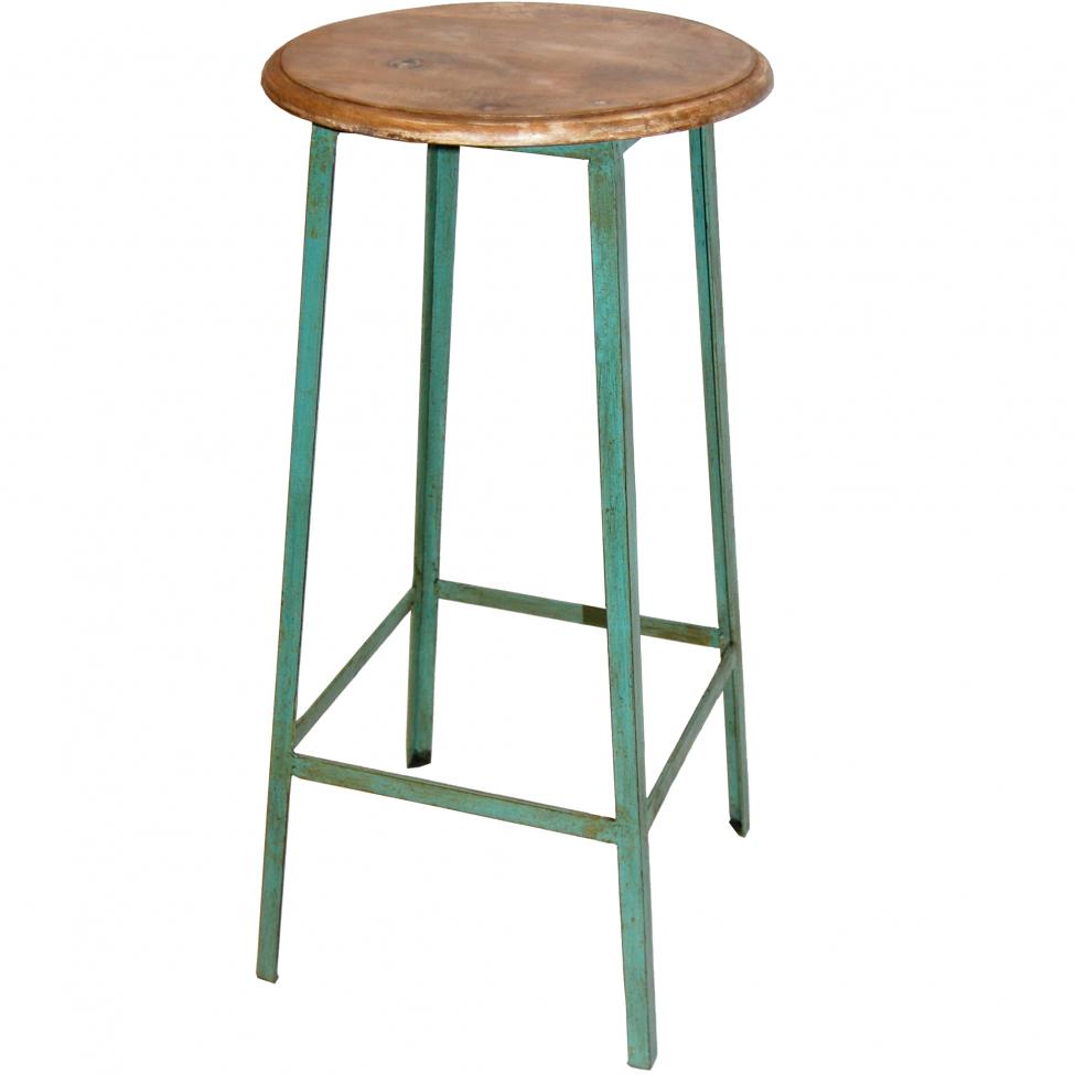Barstol 'Wooden Seat' - Turkos