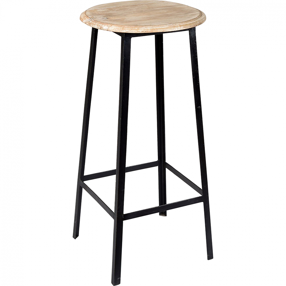 Barstol 'Wooden Seat' - Svart
