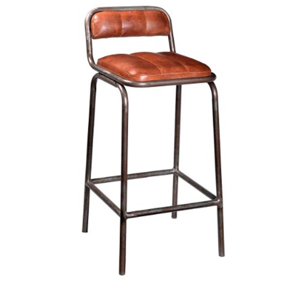 Barstol med ryggstöd - Läder