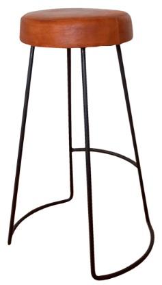 Barpall - Läder/Järn