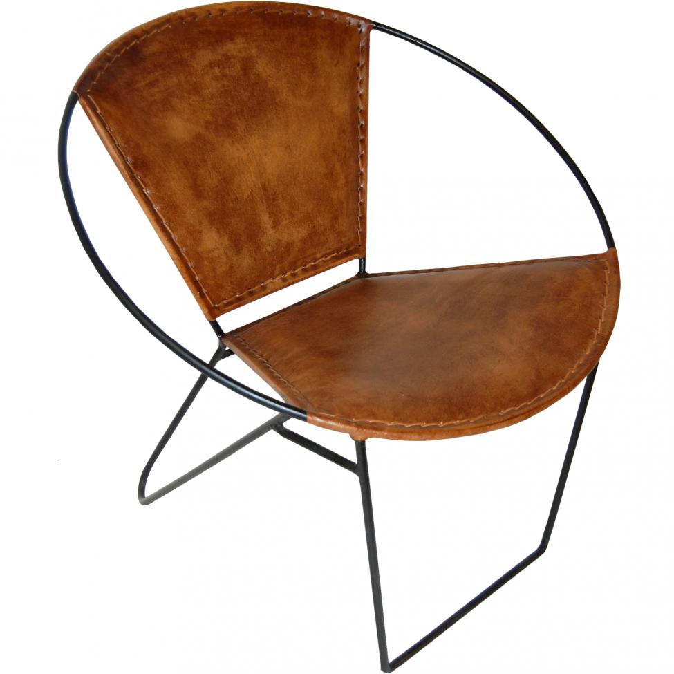 Fåtölj 'Circle' - Järn/Läder